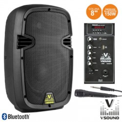 "Coluna Amplificada 8"" 150W USB/BT/SD Micro VSOUND"